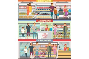 People shopping at supermarket banners