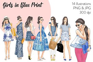 Girls in Blue Print Fashion Clipart