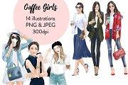 Coffee Girls 1 - Light Skin Clipart