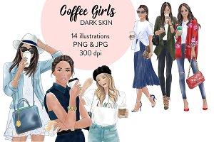 Coffee Girls 1 -Dark skin Clipart