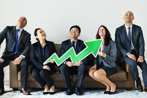 Business people with statistics icon
