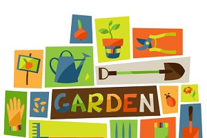 Backgrounds with garden elements.