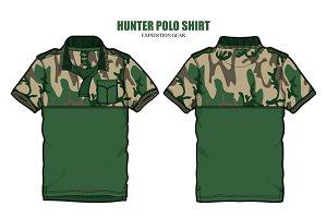 Men Hunter Polo Shirt Vector Apparel