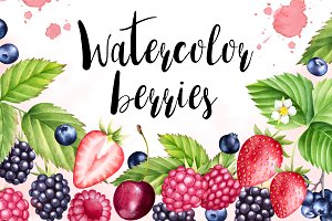 Watercolor berries collection
