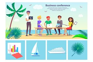 Business Conference Seaside Vector Illustration