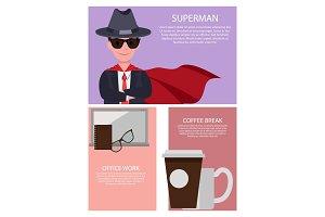 Superman and Office Work, Vector Illustration