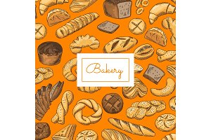 Vector hand drawn colored bakery elements background with place for text