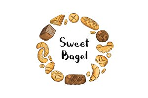 Vector hand drawn colored bakery elements