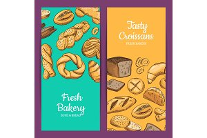 Vector banner or shop flyer templates with hand drawn colored bakery elements