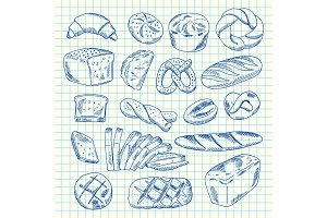 Vector hand drawn contoured bakery elements