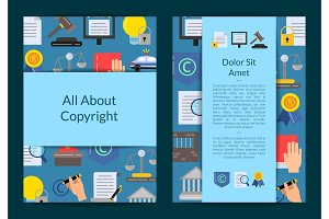 Vector card or flyer template with flat style copyright elements