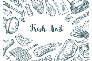 Vector hand drawn meat elements