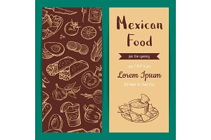 Vector banner, flyer or invitation template for restaurant cafe mexican food elements