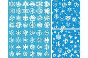 2 Snowflakes Seamless Background wit