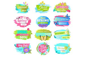 Big Set of Spring Sale Advertisement Labels Flower