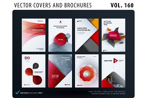 Creative design of brochure set, abstract annual report, horizontal cover
