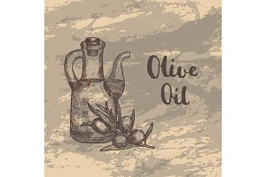 Vector hand drawn olive branche with oil bottle illustration