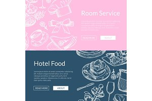 Vector web banner templates restaurant or room service