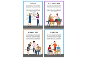Strategy Successful Team Set Vector Illustration