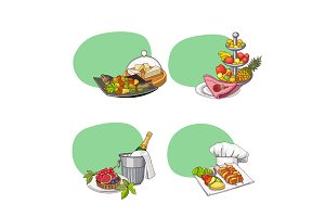 Hand drawn restaurant or room service elements