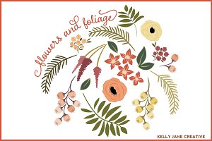Flowers & Foliage for Fall Vector