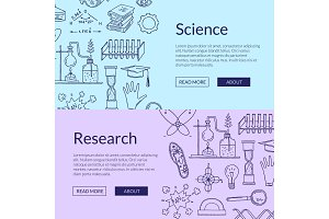 Vector web banner templates with hand drawn science elements