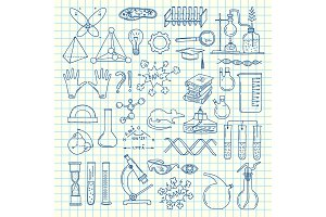 Vector sketched science or chemistry elements set