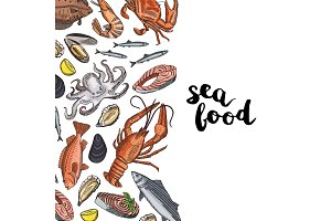 Vector background illustration with hand drawn colored seafood elements and lettering