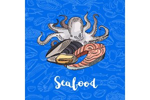Vector hand drawn colored seafood elements lettering