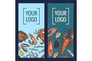Vector card or flyer templates with colored hand drawn seafood elements