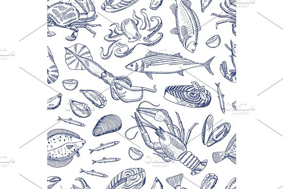 Vector Hand Drawn Contoured Seafood Elements Pattern