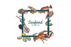 Vector hand drawn seafood elements flying