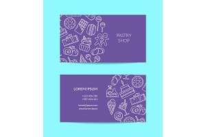 Vector business card template with linear style sweets icons for pastry shop