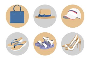 Handbag and Hats, Vogue Shoes Set, Colorful Card