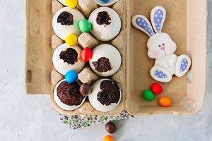 Easter brownies in egg shells
