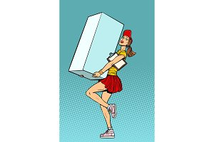 Funny woman courier shipping box, delivery service