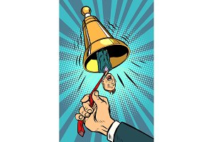 business alarm concept. hand ringing the bell