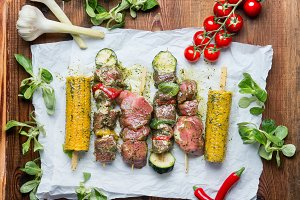 Meat and vegetables Skewers