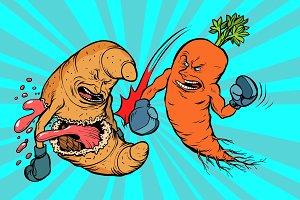 carrots beats a croissant, vegetarianism vs fast food
