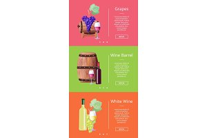 Grapes White Wine Barrel Online Posters Set Vector
