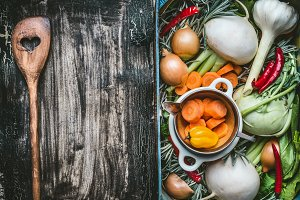 Healthy clean food background