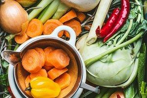 Organic seasonal regional vegetables