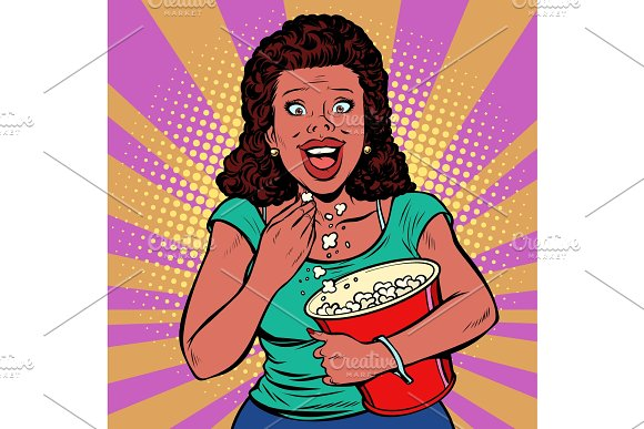 Woman Watching A Movie Smiling And Eating Popcorn