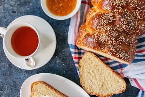 Traditional Challah bread and Tea