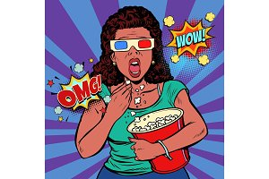 Woman in 3d glasses watching a scary movie and eating popcorn