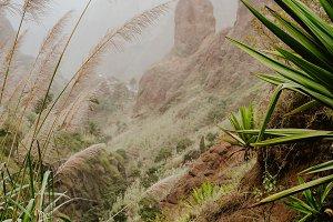 Trekking paradise. Beautiful route 202 via Lombo de Pico in Xo-Xo valley. Track from Rabo Curto via Ribeira da Torre to Rebeira Grande. Santo Antao island, Cape Verde