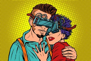couple in love with virtual reality glasses