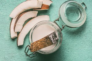 Coconut milk with coconut slices