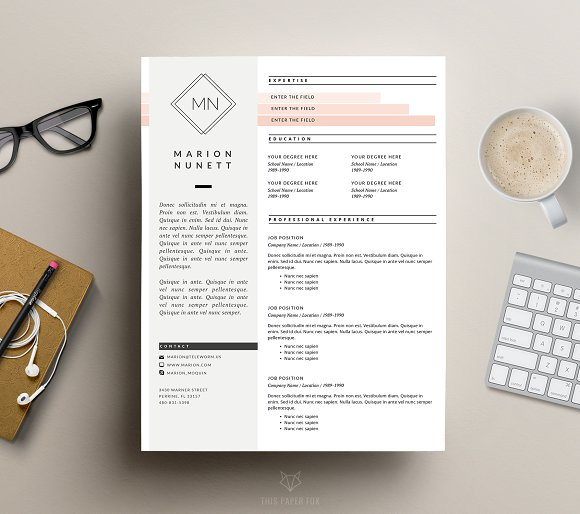 2 page resume template for ms word resume templates creative market