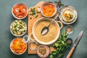 Vegetarian couscous cooking